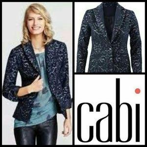 New CAbi Womens Jacquard Blazer z 6 Navy Blue Wool